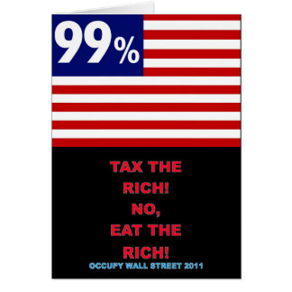 Bandera americana del 99% - ocupe Wall Street Tarjeta De Felicitación