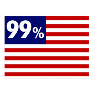 Bandera americana del 99% - ocupe Wall Street Tarjetas Postales