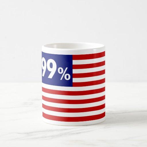 Bandera americana del 99% - ocupe Wall Street Taza Clásica