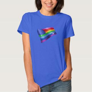 Bandera americana del arco iris del brillo polera