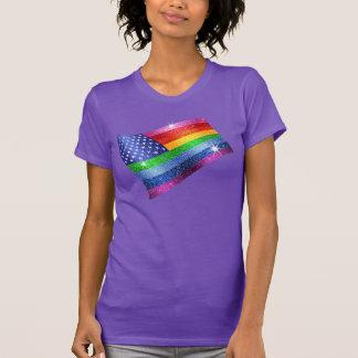 Bandera americana del arco iris del brillo remeras