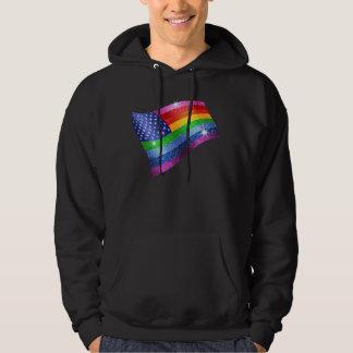 Bandera americana del arco iris del brillo sudadera encapuchada