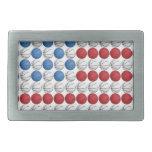 Bandera americana del baloncesto hebilla de cinturón rectangular
