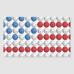 Bandera americana del baloncesto pegatina rectangular
