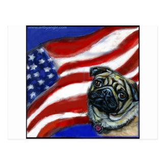 Bandera americana del barro amasado postal