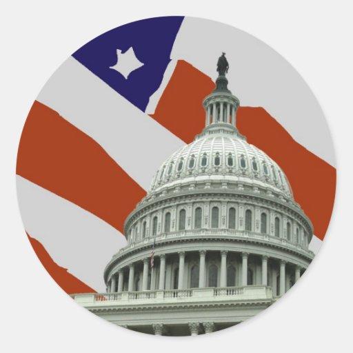 Bandera americana del capitolio etiqueta redonda