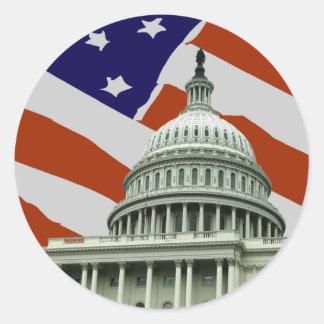 Bandera americana del capitolio pegatina redonda