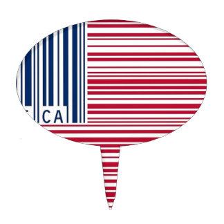 bandera americana del código de barras decoraciones de tartas
