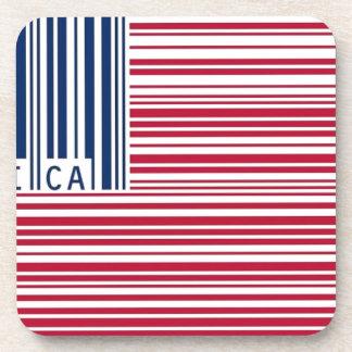 bandera americana del código de barras posavasos