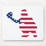 Bandera americana del colector del béisbol tapetes de ratones