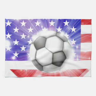Bandera americana del corazón del fútbol toalla