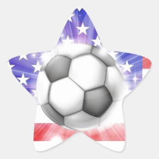 Bandera americana del corazón del fútbol calcomanía forma de estrella personalizada