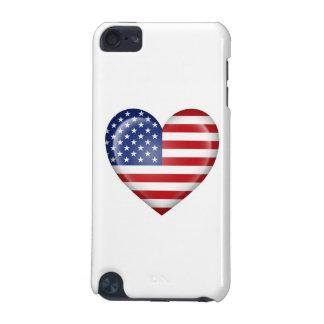 Bandera americana del corazón en blanco