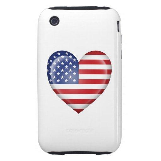 Bandera americana del corazón en blanco iPhone 3 tough protector