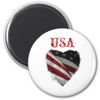 Bandera americana del corazón imán redondo 5 cm