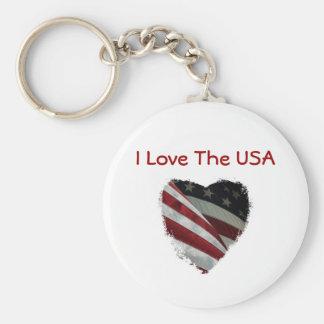 Bandera americana del corazón llavero personalizado