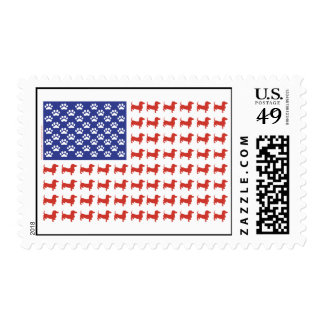 Bandera americana del Dachshund de los E.E.U.U. Estampillas