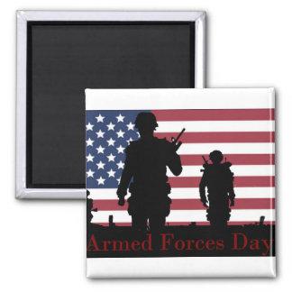 Bandera americana del día de fuerzas armadas de imán cuadrado