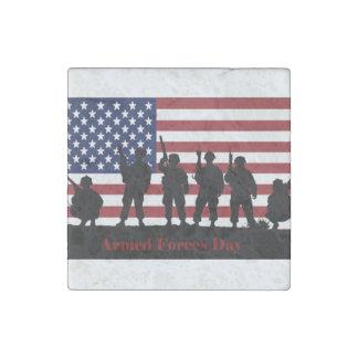 Bandera americana del día de fuerzas armadas de imán de piedra