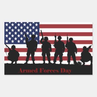 Bandera americana del día de fuerzas armadas de rectangular pegatinas