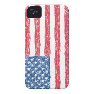 Bandera americana del estilo del garabato funda para iPhone 4 de Case-Mate