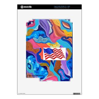 Bandera americana del flor calcomanía para el iPad 2