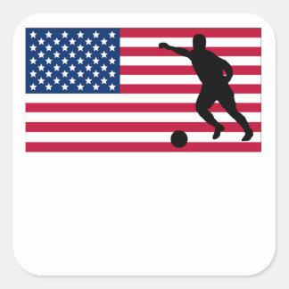 Bandera americana del fútbol calcomanía cuadradas personalizadas