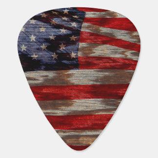 Bandera americana del grano de madera púa de guitarra