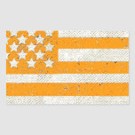 Bandera americana del grunge anaranjado etiqueta