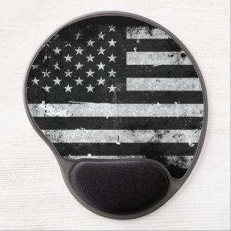 Bandera americana del Grunge blanco y negro Alfombrilla Gel