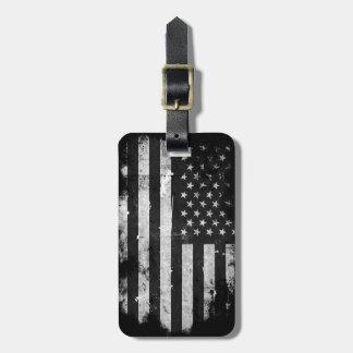 Bandera americana del Grunge blanco y negro Etiquetas Bolsa