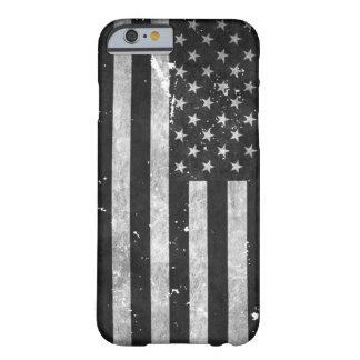 Bandera americana del Grunge blanco y negro Funda Barely There iPhone 6