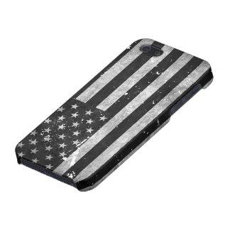 Bandera americana del Grunge blanco y negro iPhone 5 Cárcasa