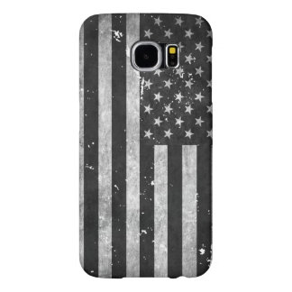 Bandera americana del Grunge blanco y negro Fundas Samsung Galaxy S6