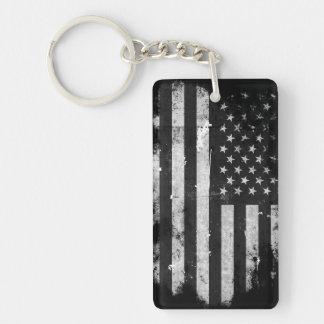 Bandera americana del Grunge blanco y negro Llavero Rectangular Acrílico A Doble Cara