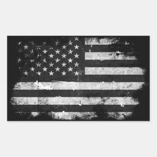 Bandera americana del Grunge blanco y negro Pegatina Rectangular