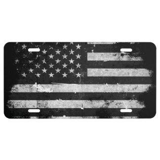 Bandera americana del Grunge blanco y negro Placa De Matrícula