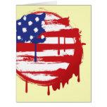 Bandera americana del Grunge con los goteos corrie Felicitación