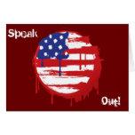 Bandera americana del Grunge con los goteos corrie Tarjetón