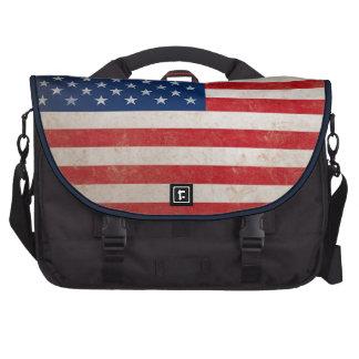 Bandera americana del Grunge del vintage Bolsas De Portátil