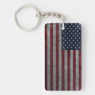 Bandera americana del Grunge del vintage del metal Llavero Rectangular Acrílico A Doble Cara