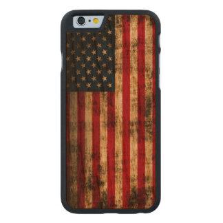 Bandera americana del Grunge del vintage Funda De iPhone 6 Carved® Slim De Cerezo