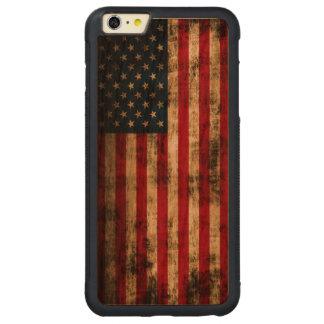 Bandera americana del Grunge del vintage Funda De Cerezo Bumper Carved® Para iPhone 6 Plus