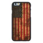 Bandera americana del Grunge del vintage Funda De iPhone 6 Carved® De Cerezo