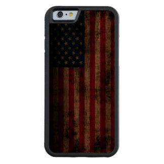 Bandera americana del Grunge del vintage Funda De iPhone 6 Bumper Nogal