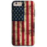 Bandera americana del Grunge Funda De iPhone 6 Plus Tough