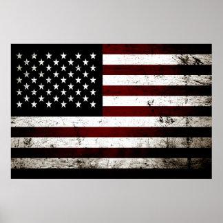 Bandera americana del Grunge negro Póster
