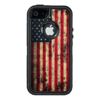 Bandera americana del Grunge patriótico del Funda OtterBox Defender Para iPhone 5