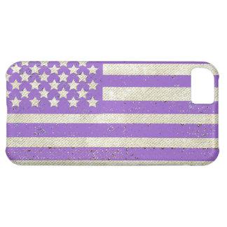 Bandera americana del grunge púrpura funda para iPhone 5C