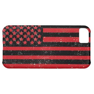 Bandera americana del grunge rojo negro funda para iPhone 5C